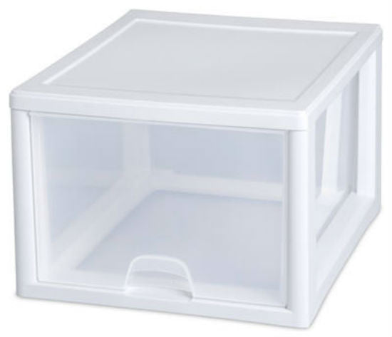 Sterilite 23108004 Stacking Drawer, White, 27 Quart