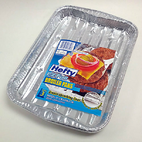 Hefty® 91855 EZ Foil® Grease Absorbing Broiler Pan, 3 Pack