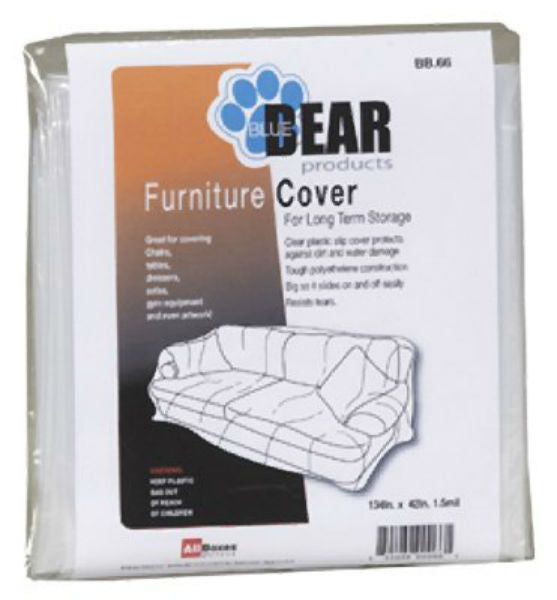 "Allboxes Direct BB66 BlueBear Platic Furniture Cover, Clear, 134"" x 42"""