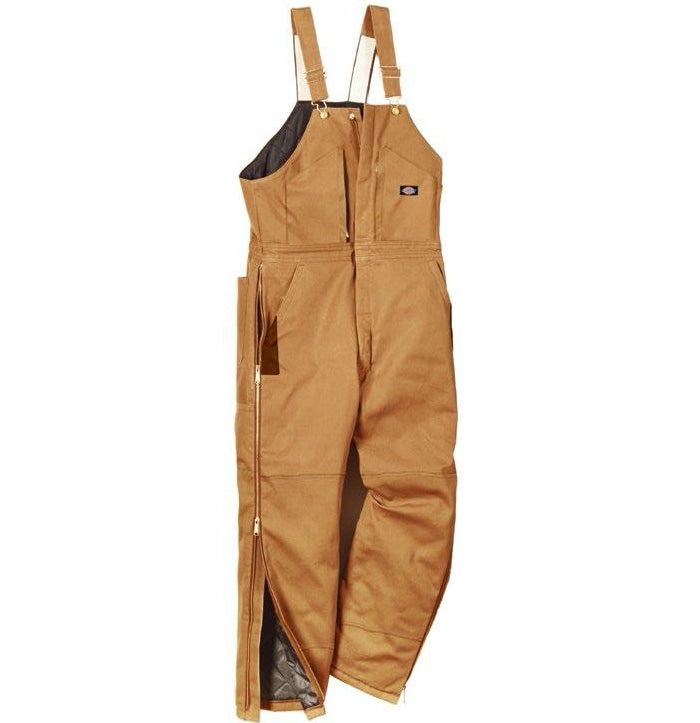 Dickies TB839BDLS Men's Short  Fit Duck Insulated Bib Overalls, Large, Brown