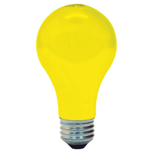 GE Lighting 61435 Incandescent A19 Yellow Bug Light Bulb, 90W, 2-Pack
