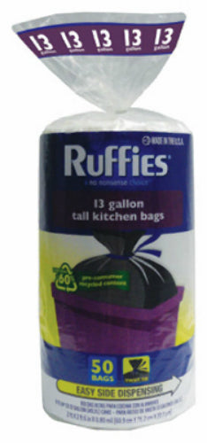 Ruffies® 973030 Eco-Choice Kitchen Trash Bag,13 Gallon, Black, 50-Count