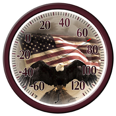 Springfield 90007-215 Bald Eagle With American Flag Dial Thermometer, 13.25""