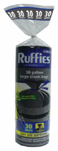 Ruffies® 973031 Eco-Choice Kitchen Large Trash Bag, 30 Gallon, Black, 30-Count
