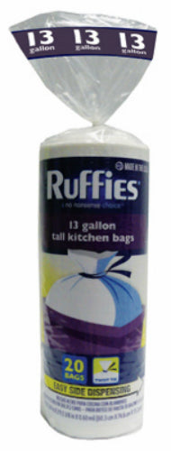 Ruffies® 929602 Tall Kitchen Trash Bag, 13 Gallon, White, 20-Count