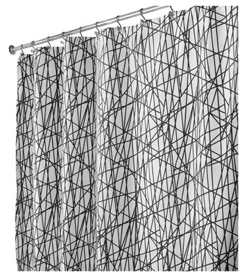 "InterDesign® 36920 Abstract Fabric Shower Curtain, 72"" x 72"", Black & White"