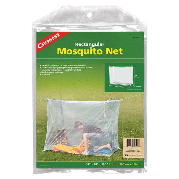 "Coghlan's 9640 Rectangular Mosquito Bed Net, Single White, 32"" x 78"" x 59"""