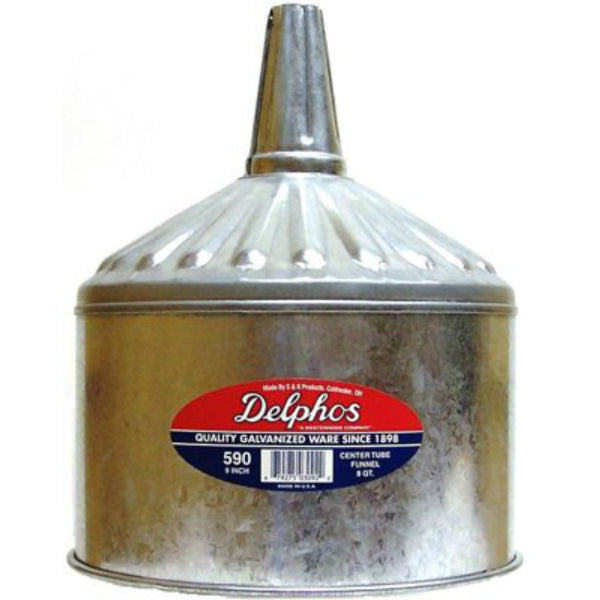 S & K Products 590 Heavy-Duty Galvanized Funnel, 8 Qt  Capacity