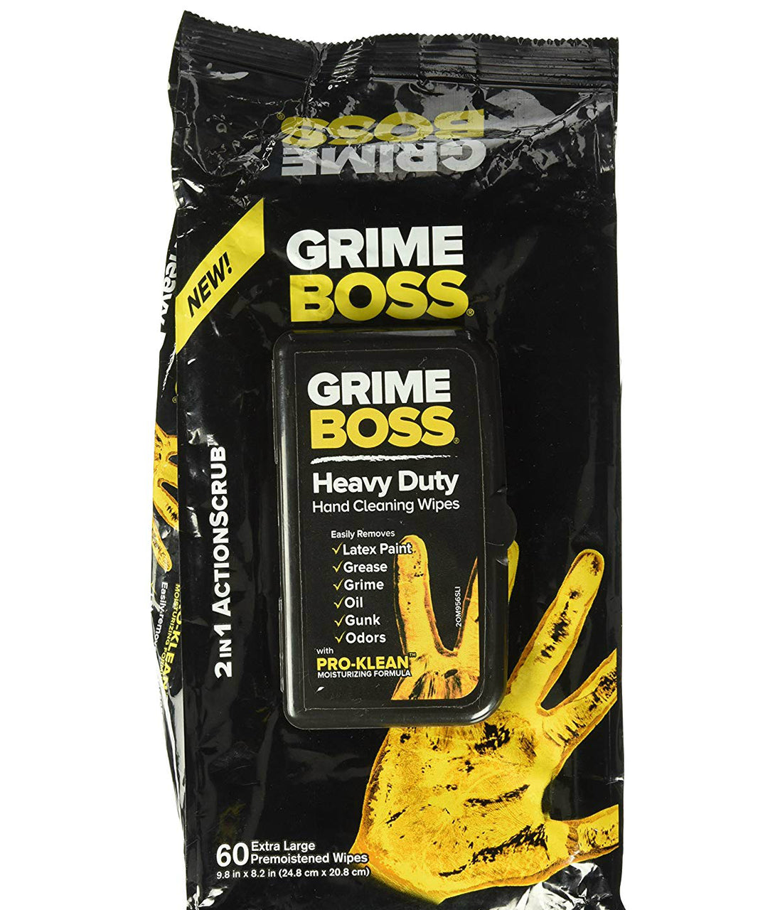 Grime Boss M956S8X Heavy-Duty Hand Cleaning Wipes, 60-Count
