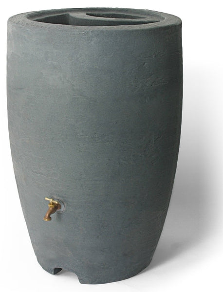 Algreen 86302 Athena Rain Barrel with Brass Spigot, Charcoalstone, 50 Gallon