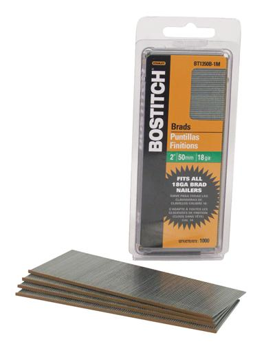 "Bostitch® BT1350B-1M Galvanized 50mm Brad Nails, 2"", 18 Gauge, 1000-Pack"