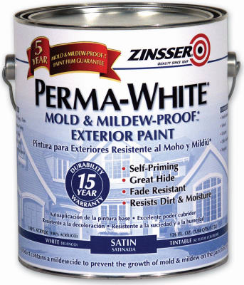 Zinsser 3104 Perma White Satin Mold & Mildew Proof Exterior Paint,1-Qt