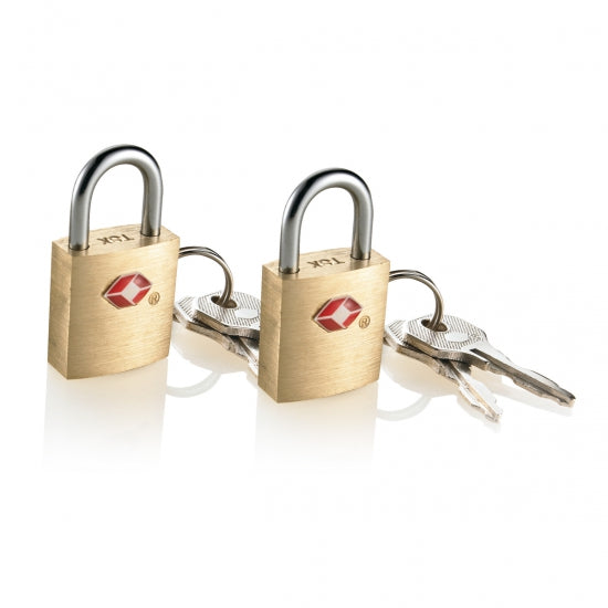 Travel Smart® TS2A01TS Travel Sentry® Small Brass Padlock, 2-Pack