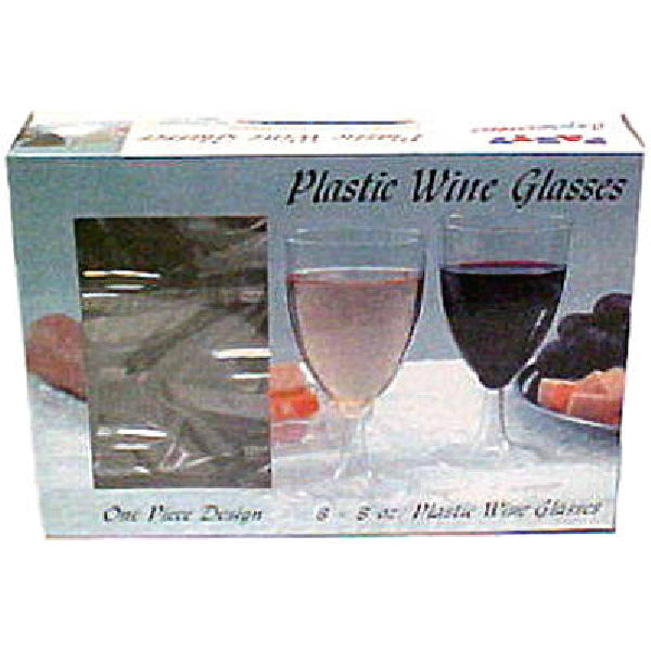 Table-Mate 0388 One-Piece Plastic Wine Glasses, 8 Oz, 8-Count