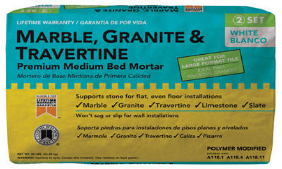 Custom® MGMM50 Marble Granite & Travertine Premium Medium Bed Mortar, 50 Lb, White