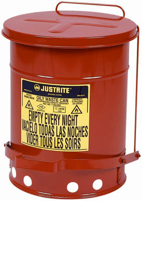 Justrite 09100 Oily Waste Can with Foot Lever, 6-Gallon, Red