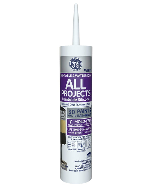 GE GE-7000 Silicone II Paintable Caulk, White, 10.1 Oz