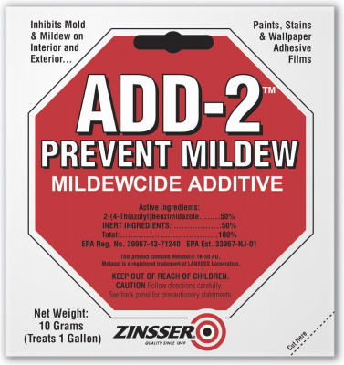 Zinsser 60511 Add 2 Interior & Exterior Mildewcide Additive, 10 Gram