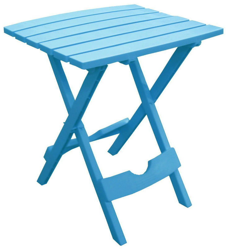 Adams 8500-21-3731 Quik-Fold Portable Side Table, Resin, Pool Blue