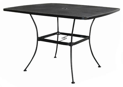 "Woodard Uptown Collection Steel Mesh Dining Table, 42"", Textured Black"