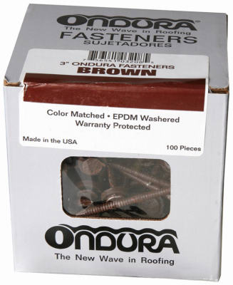"Ondura 3208 Nails With Washers 3"", Brown (100-Pack)"