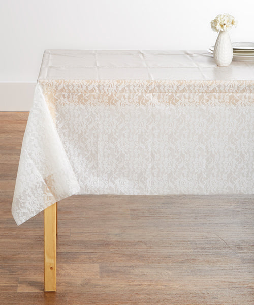 "Creative Converting™ 013061 White Lace Look Plastic Table Cover, 54"" x 108"""