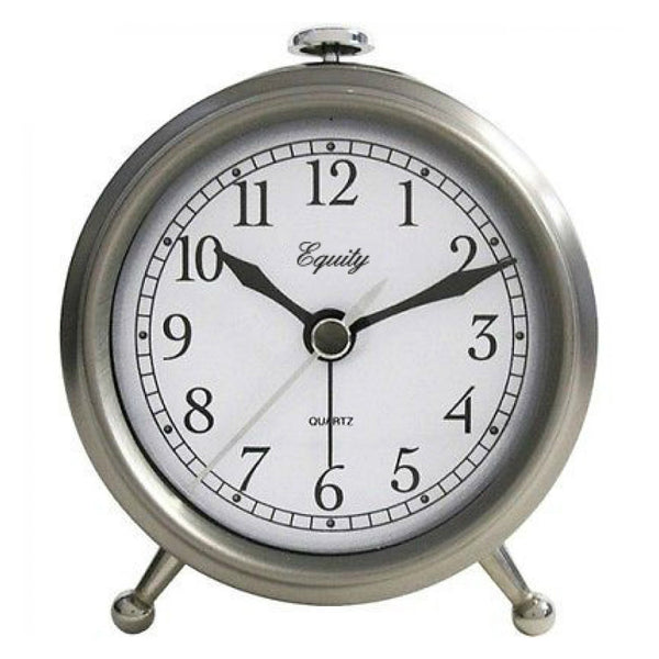 Equity 25655 Analog Quartz Table Alarm Clock, Small, Brushed Metallic Case