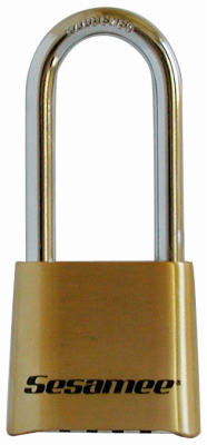 "Sesamee K437 4-DialCombination Brass Lock With 2-1/4"" Shackle"