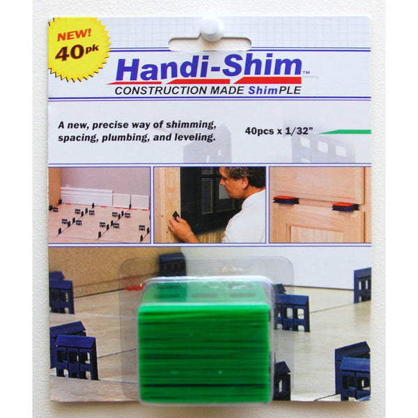 "Handi-Shim™ HS13240GR Plastic Shim for Construction Applications, 1/32"", Green, 40-PC"