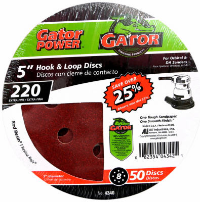 Gator 4340 Hook & Loop Sanding Disc, 8 Hole, 5""