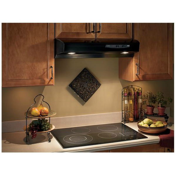 Broan QS130BL Under Cabinet Convertible Range Hood, Black, 220 CFM, 30""