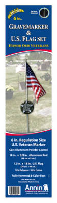 Annin Flagmakers 11990 Gravemarker & US Flag Set