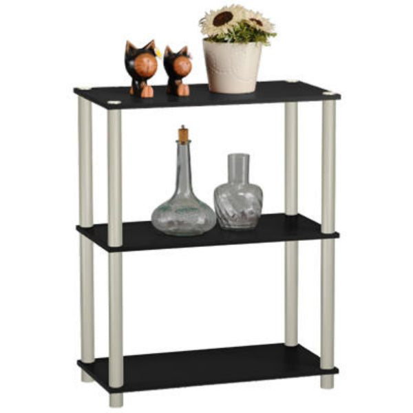 Momentum Furnishings PBF-0283-106 Black 3-Tier Book Shelf with Silver Accents