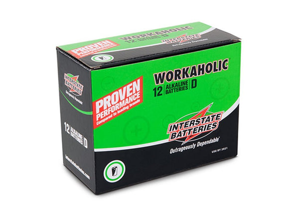 "Interstate Batteries DRY0085 Workaholic ""D"" Alkaline Battery, 12-Pack"