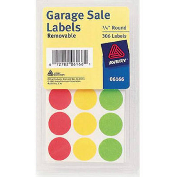 "Avery® 06725 Removable Garage Sale Labels, 3/4"" Round, Assorted, 315-Count"