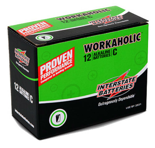 "Interstate Batteries DRY0080 Workaholic ""C"" Alkaline Battery, 12-Pack"