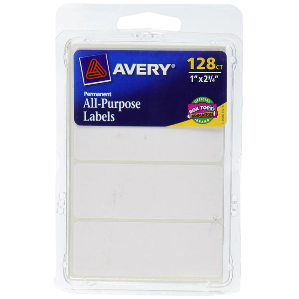 "Avery® 06113 Permanent All-Purpose Rectangle Labels, 1"" x 1-3/4"", White, 128-Count"
