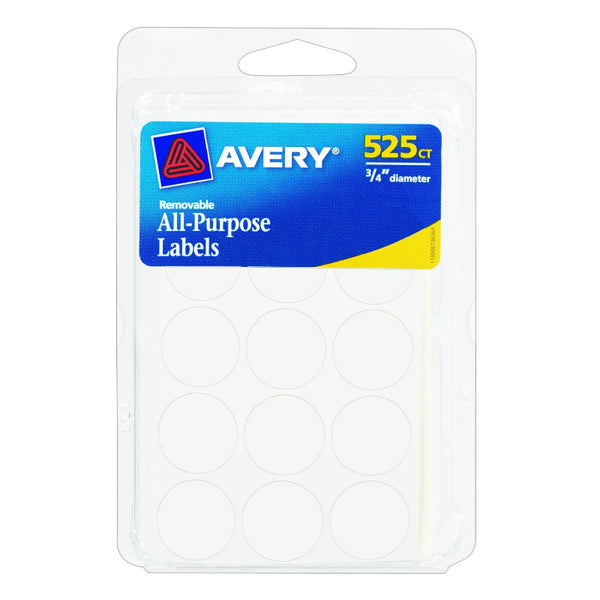 "Avery® 06736 All Purpose Removable Labels, 3/4"" Round, White, 525-Count"