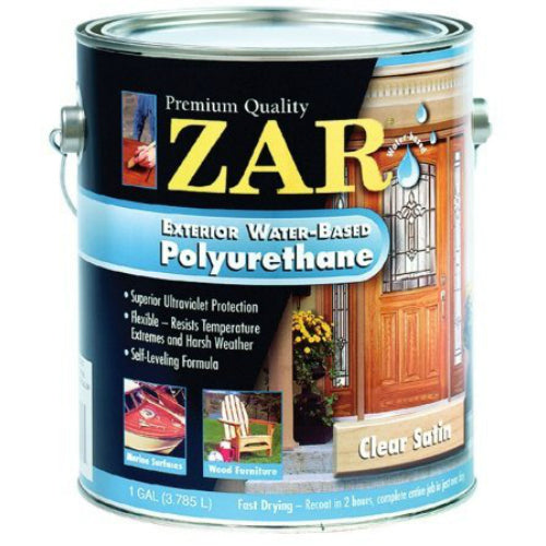 Zar 32713 exterior water based polyurethane satin 1 gallon for Zar exterior water based polyurethane