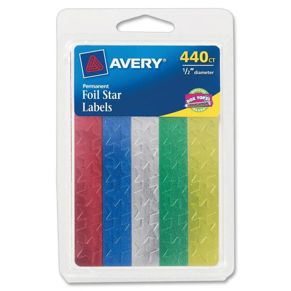 "Avery® 06007 Permanent Foil Star Labels, 1/2"" Diameter, Assorted Colors"