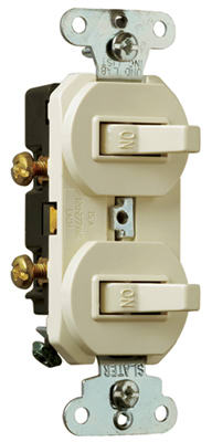 Pass & Seymour Grounding Combination Switches, 15A, Light Almond