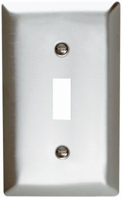 Pass & Seymour SS1CC25 Smooth Metal Wall Plate, 1 Gang, Toggle