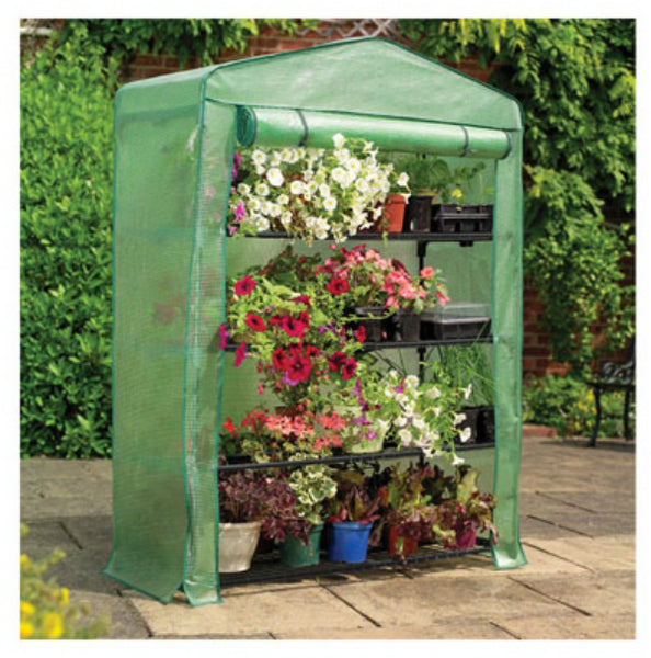"Gardman 7600 Extra Wide 4-Tier Mini Greenhouse w/ Reinforced Cover, 47"" x 63"""