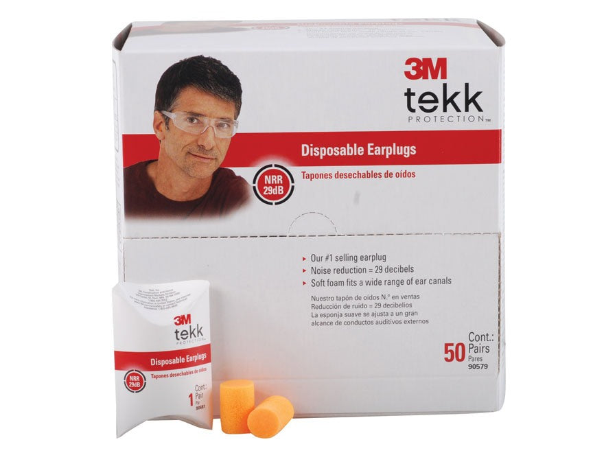 3M™ 90579-50-10C Tekk Protection™ Disposable Earplugs, NRR 29 dB, 50-Pack