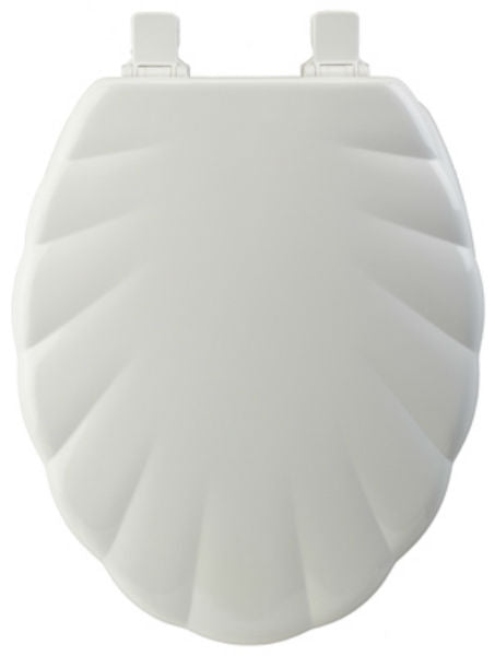 Mayfair 122EC-000 Elongated Molded Wood Toilet Seat w/Chrome Hinge, White, Shell