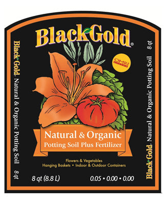 Black Gold 1402040-Q08P Natural & Organic Potting Mix Soil, 0.05-0.0-0.0, 8 Qt