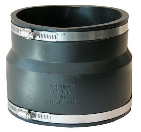 Fernco® P1002-66 Flexible Repair Coupling for Clay To Cast Iron Or Plastic Pipe
