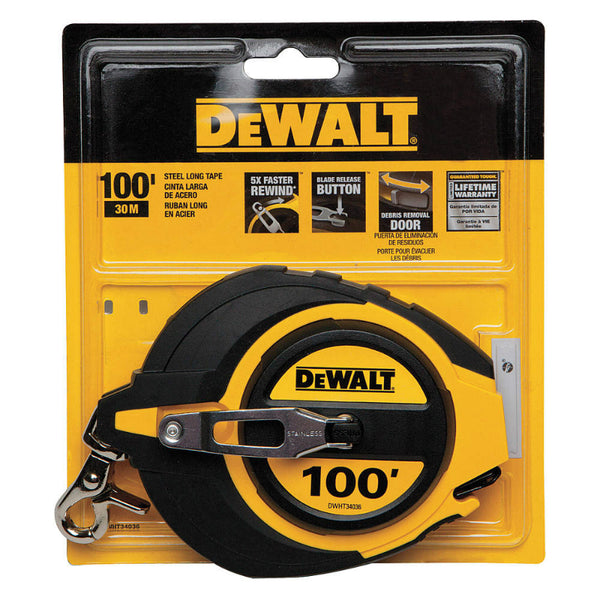 "DeWalt® DWHT34036 Closed Case Long Measuring Tape, 3/8"" x 100'"