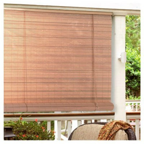 "Lewis Hyman 0321266 PVC Roll Up Blind, 72""W x 72""L, Woodgrain"