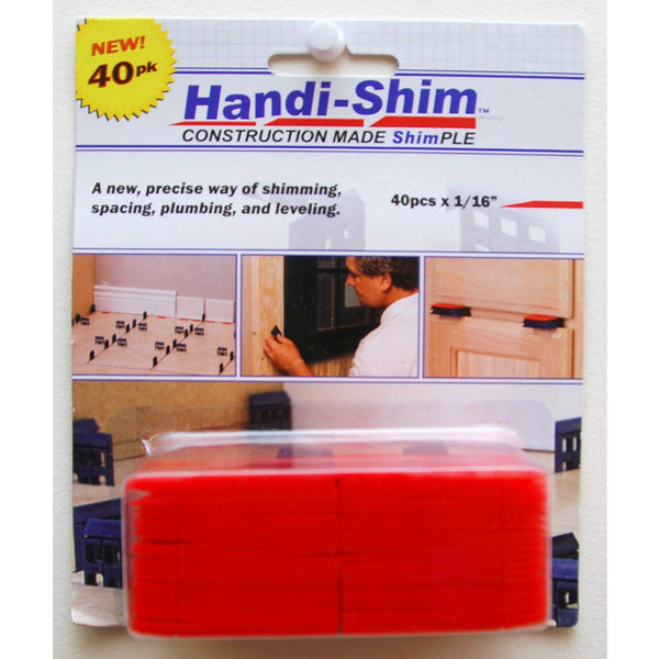 "Handi-Shim™ HS11640RD Plastic Shim for Construction Applications, 1/16"", Red, 40-PC"